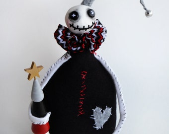Christmas Skelly - Spooky Christmas - Christmas Decor - Stitched Skelly - Made To Order