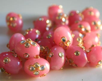 BABY PINK Gorgeous Kundan Gemstones - Top Drilled Gemstone beads from India (2)