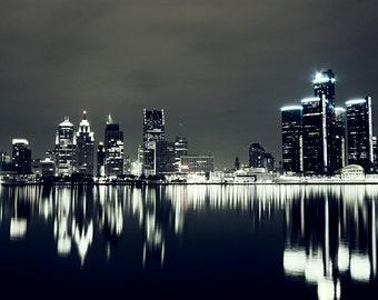 Detroit Photography - Detroit Night Reflection Skyline - Fine Art Print