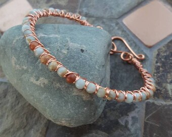Aqua Terra Gemstone & Copper Wire Wrapped Bangle Bracelet