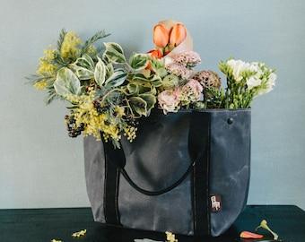 Gewachste Canvas Tote Bag, Tasche, Vegan, Umhängetasche, Frau Tasche, MIA grau