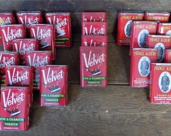 25 Prince Albert Velvet Empty Tobacco Tins Vintage Advertising Sign Pipe j, Velvet Tobacco Tins, Advertising Tins Tobacciana Chewing Tobacco