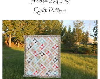Charm square quilt pattern, charm pack pattern, Hidden Zig Zag Quilt pattern, pdf quilt pattern, half square triangle quilt pattern
