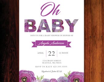 Baby Shower invitation, Floral Baby Shower invitation, Oh Baby Invitation  - Set of 15