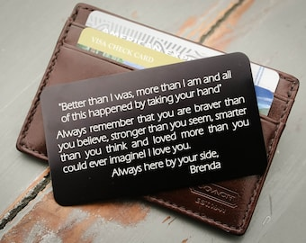 Custom Wallet Insert, Personalized Wallet Card, Engraved Wallet Card: Valentine's Day, Anniversary Gift for Men, Military Deployment Gift