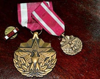 Vintage Military Medals, Meritorious Military Medals, United States Foreign Armed Forces, Heroism Medal, Meritorious Achievement,