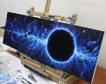 "10x30"" Original Oil Painting - Black Hole Eclipse Nebula - Space Wall Art"
