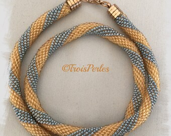 133 - Beaded Crochet Necklace - Kette - Perlenkette - Häkelkette