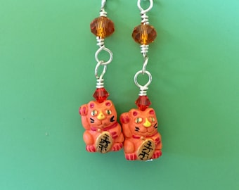 Orange Beckoning Cat Earrings