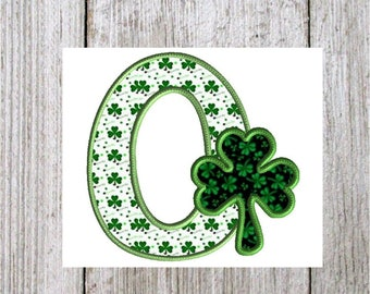 Shamrock Letter O, Machine Embroidery Design Applique, Shamrock Font, Clover Font, St. Patrick's Day, 3 Sizes