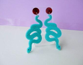 Turquoise Snake Dangle Earrings, Laser cut acrylic earrings