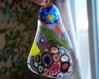 Fused glass pendant dichroic clear millefiori flower blue red necklace jewelry