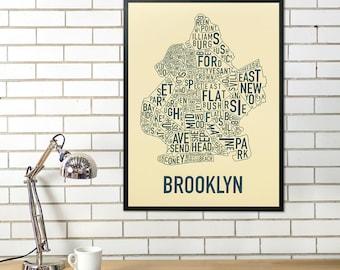 Brooklyn Neighborhood Map Poster, The Original Brooklyn New York Neighborhood Typographic City Map Design, Brooklyn Type Map Artwork