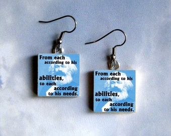 Karl Marx Earrings - From each according to his abilities