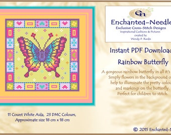Rainbow Butterfly Childrens Cross Stitch Colour PDF Chart // Cross Stitch Pattern // Instant Download // Cross Stitch PDF