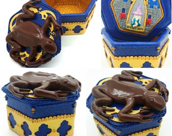 Chocolate Frog Trinket Box * CUSTOM MADE to ORDER * Wizard Card Potter-inspired Sculpture / jewelry / trinket / storage box in polymer clay
