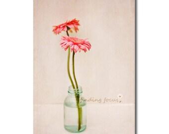 Flower Photo, Pink Gerber Daisies Seafoam Mint Green Still Life, Pastel Daisy, Shabby Cottage Romantic Feminine Photography, Minimal Flowers