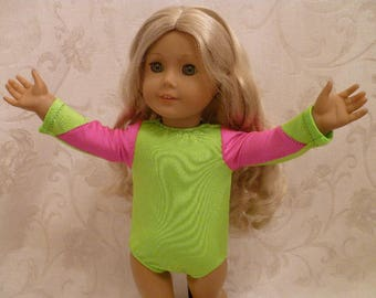 18 Inch Doll Clothes Hand Made Gymnastics Leotard in Neon Green and Pink, Dance Wear for American Girl Dolls