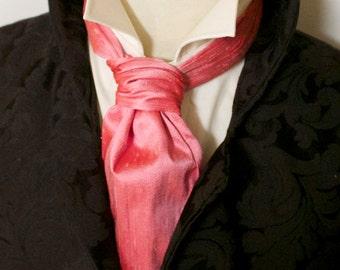 FORMAL Victorian Ascot Tie Cravat - Hibiscus Pink Dupioni SILK
