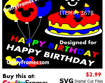 ITEM # CF-3678 - Mickey Mouse Birthday Primary Colors - SVG Cutting Machine File - Instant Download - 2.99