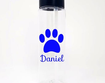 Veterinarian Paw Print 24oz Water Bottle With Flip Up Lid - 20 Colors To Choose From - Vet Tech - Personalized - Custom