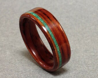 Cocobolo Bentwood Ring with Malachite/Chrysocolla Inlay, Men's Wood Ring, Women's Wood Ring