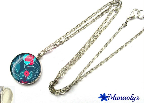 Pink and blue flowers, 271 glass cabochon silver plated chain necklace