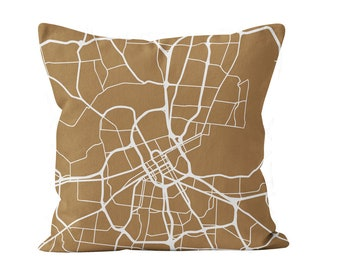 54 colors Nashville city map throw pillow cover, Nashville decor, Nashville gifts pride, Nashville new home missing moving