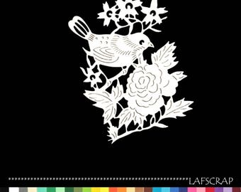 Cut bird branch flower cutout paper decoration die cut embellishment scrapbooking