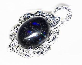 Natural Black Matrix Opal Pendant in Sterling Silver (21 ct) Basalt Opal from Honduras, Womens Black Opal Necklace, Real Black Opal Jewelry