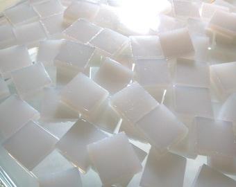 MILK GLASS FIRE Glass Transparent White Opal Mosaic Tile A18