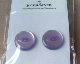 Up cycled 12mm lilac vintage button stud earrings