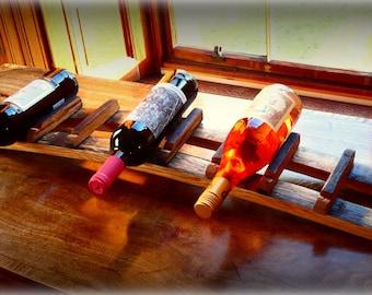 Handmade 7 Bottle Wine/Whisky Rack made from Bourbon White Oak Barrel Staves