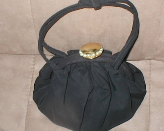 Antique Vintage Black Silk Evening Purse circa 1930