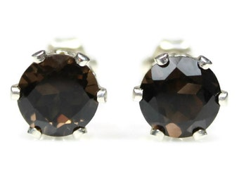 Smoky Quartz Earrings Silver Smoky Quartz Stud Earrings Smoky Quartz Post Earrings Brown Gemstones 6MM Round Smoky Quartz Jewelry
