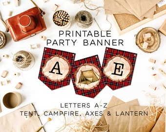 Lumberjack Birthday Banner, Camp Birthday Banner, Printable Plaid Banner, Printable Banner, Red Plaid Birthday Banner, Red Plaid Bunting