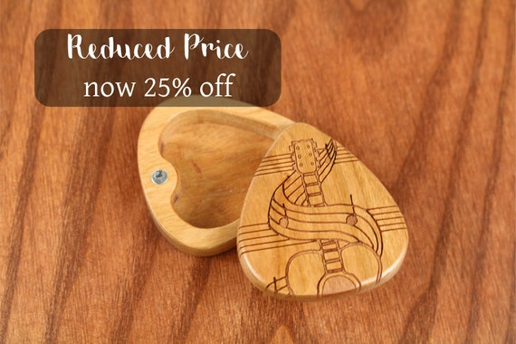 """DISCONTINUED - REDUCED PRICE Slender Guitar Pick Box, Swirls, 2-1/4"""" x 2"""" x 3/4""""D, Solid Cherrywood, Laser Engraved, Paul Szewc"""