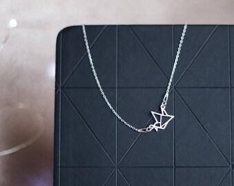 Origami Crane Necklace   Asymmetric Necklace   Silver Origami Necklace   Origami Jewelry   Crane Necklace   Animal Lover  