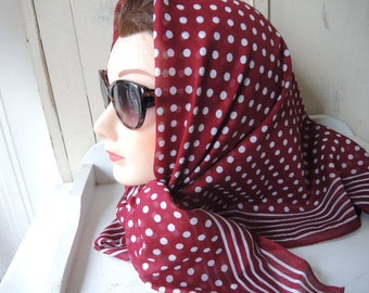 Vintage 1980s designer scarf Albert Nipon for Collection XIIX Ltd soft slightly sheer cotton polka dot brick red and white 35 x 35 inches
