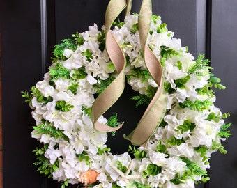 spring wreath - summer Wreath -shell wreath- Grapevine wreath - Hydrangea wreath - Monogram wreath with burlap bow- Rustic wreath