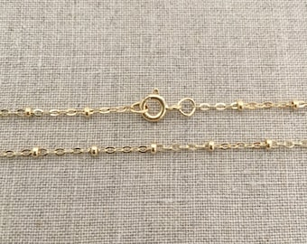 """18"""" Gold Filled Satellite Chain - 1.3mm - 18 Inch Gold Filled Chain - Gold Dew Drop Necklace - Satellite Chain - 18"""" Gold Bead Chain"""