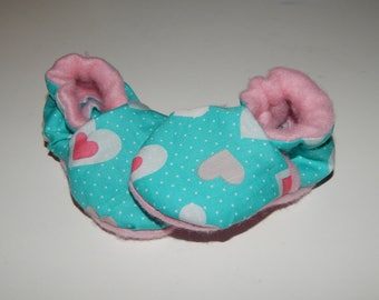 Cotton and fleece slippers Green/Pink Hearts