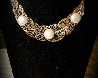 After Life Accessories: Handmade Pearl Drops on Gold Leaves Bib Chain Necklace
