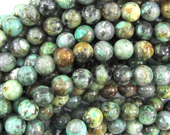 """8mm african turquoise round beads 15.5"""" strand 30014"""
