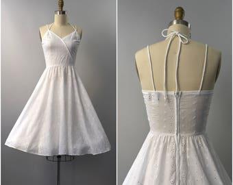 1970's Lanz Originals white eyelet cotton sun dress • small