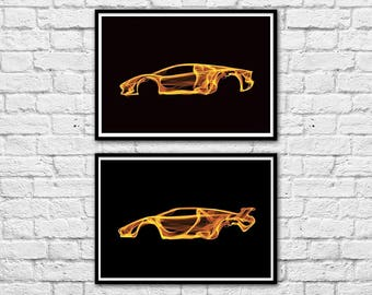 2 Art-Posters 30 x 40 cm - Limited Edition 50 ex. - Duo Lamborghini Countach and Aventador