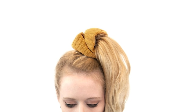 Scrunchie Hair Styles: Hair Scrunchie Ponytail Holder Mustard Scrunchies Pony Tail