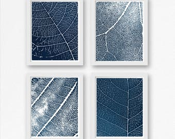 Blue Wall Art, Leaf Set of Four Prints, Plant Print Set of 4, Botanical Art Decor Botanical Print Blue Abstract Matching Set Living Room Art