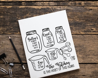 Mason Jar Kitchen Measurement Cheatsheet, SVG Vector Clipart, Typography Quote, Print Saying, Cooking Gift for Mom, Conversion Chart