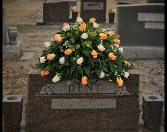 Headstone Saddle, Cemetery Flowers, Memorial Flowers, Grave Decorations, Funeral Flowers, Spring Cemetery Decoration, Easter Grave Decor
